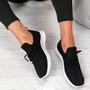 Nova Black Lace Up Knit Trainers