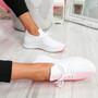 Nova Fuchsia Lace Up Knit Trainers