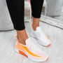 Nova Orange Lace Up Knit Trainers