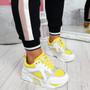 Nezze Yellow Glitter Chunky Sneakers
