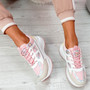 Fiffe Pink Lace Up Chunky Sneakers