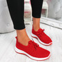 Ligy Red Knit Lace Up Sneakers
