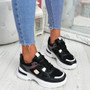 Denza Black Lace Up Chunky Sneakers