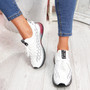 Jima White Black Lace Up Sport Sneakers