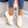 Jima White Yellow Lace Up Sport Sneakers