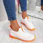 Jima White Orange Lace Up Sport Sneakers