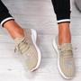 Pehy Beige Studded Knit Sneakers