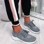 Pehy Grey Studded Knit Sneakers