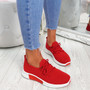 Senny Red Lace Up Trainers