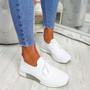 Senny White Lace Up Trainers