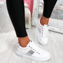 Lossa White Silver Lace Up Trainers