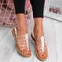 Kotty White Flat Sandals