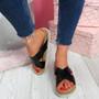 Sya Black Slip On Sandals