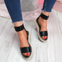 Foddy Black Ankle Strap Platform Sandals