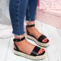 Inny Black Pu Studded Platform Sandals