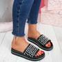 Obby Black Studded Sliders Sandals