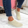 Dynna Beige Sock Cycling Sneakers