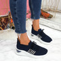 Bello Navy Lace Up Walking Trainers
