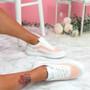 Kawa Orange Lace Up Glitter Trainers