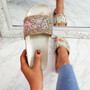Kevy Gold Diamante Studded Sandals