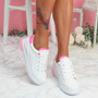 Loffy White Rose Platform Trainers