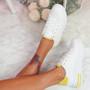 Loffy White Yellow Platform Trainers