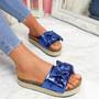 Linne Blue Glitter Flatform Sandals