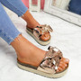 Linne Champagne Glitter Flatform Sandals