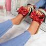 Linne Red Glitter Flatform Sandals