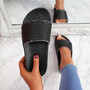 Vessa Black Flat Sliders Sandals