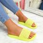 Vessa Yellow Flat Sliders Sandals