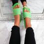 Senny Green Knit Flat Sandals