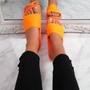 Senny Orange Knit Flat Sandals