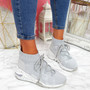 Kezy Grey Lace Up Chunky Trainers