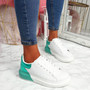 Hegga White Green Snake Skin Trainers