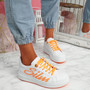 Slimme White Orange Platform Trainers