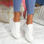 Nevy White Silver Platform Trainers