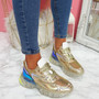 Necco Gold Shiny Chunky Trainers