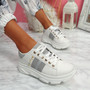 Levy White Grey Platform Trainers