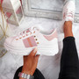 Levy White Pink Platform Trainers