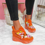 Leny Orange Glitter Sparkle Chunky Trainers