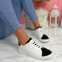 Lorya White Black Flat Trainers