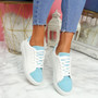 Lorya White Blue Flat Trainers