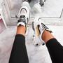 Zeny White Black Chunky Sneakers
