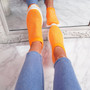 Kolly Orange Studded Sock Sneakers