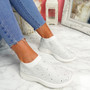 Kolly White Studded Sock Sneakers