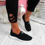 Cinny Black Knit Running Trainers