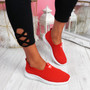 Cinny Red Knit Running Trainers