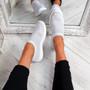 Nurya Light Grey Knit Slip On Trainers