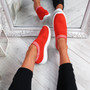 Nurya Red Knit Slip On Trainers